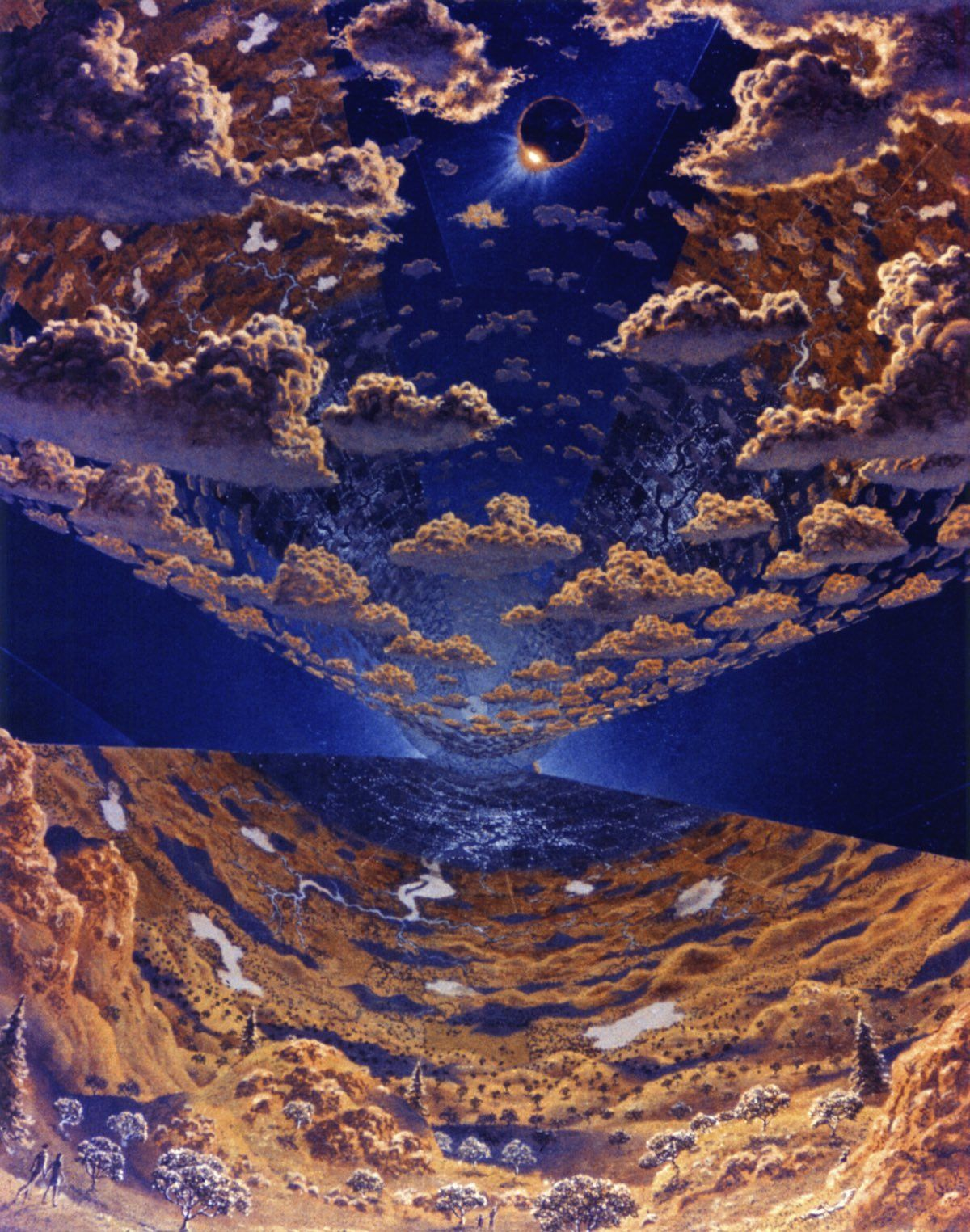 Cylinder Eclipse. Eclipse of the sun with view of clouds and vegetation. Art work: Don Davis. Credit: NASA Ames Research Center. NASA ID AC75-1920