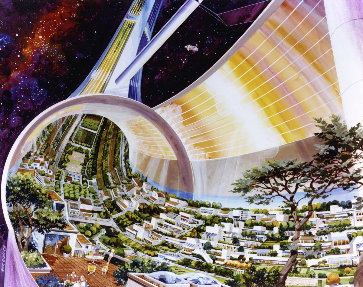 Toroidal Colony. Cutaway view, exposing the interior. Art work: Rick Guidice. Credit: NASA Ames Research Center. NASA ID AC75-1086-1