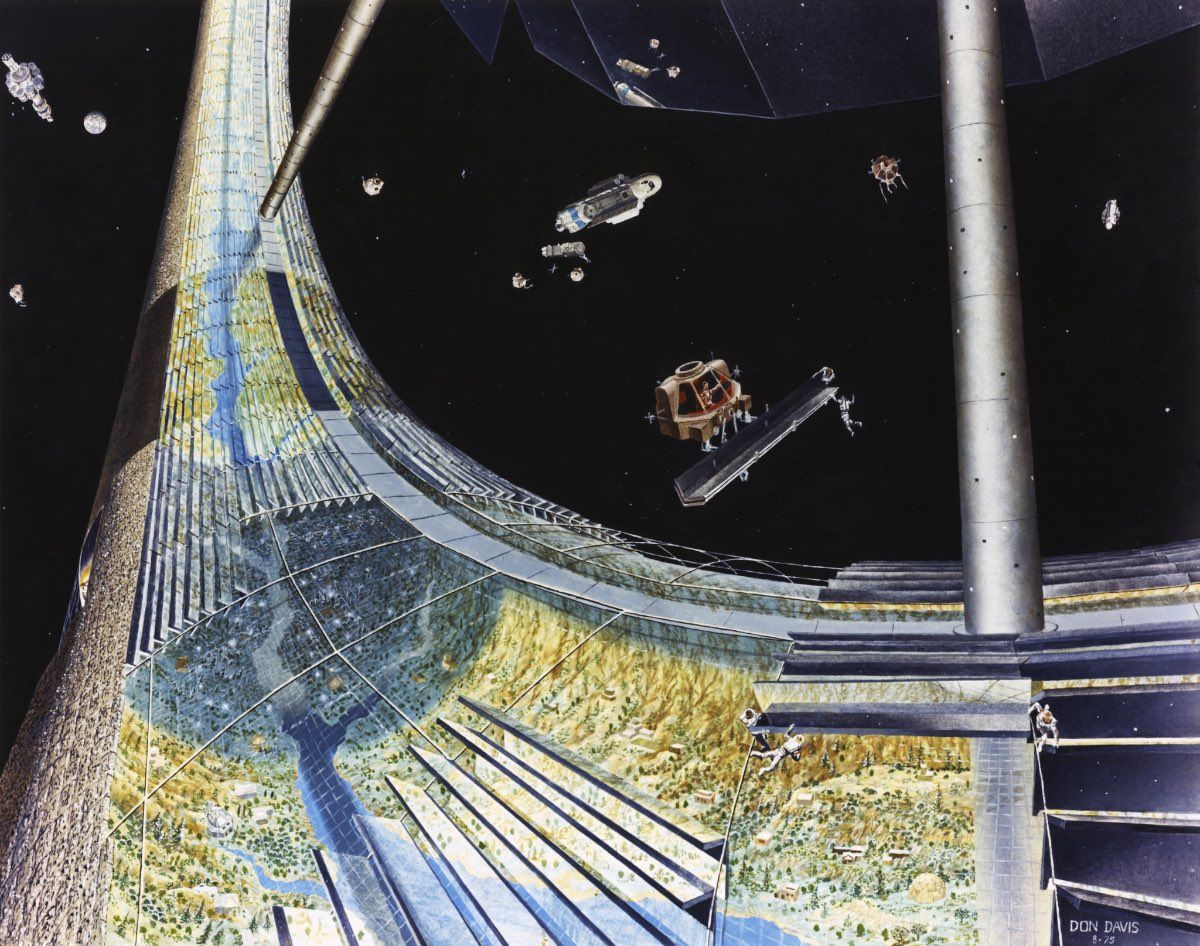 Torus Construction. Construction along the torus rim. Art work: Don Davis. Credit: NASA Ames Research Center. NASA ID AC75-1886