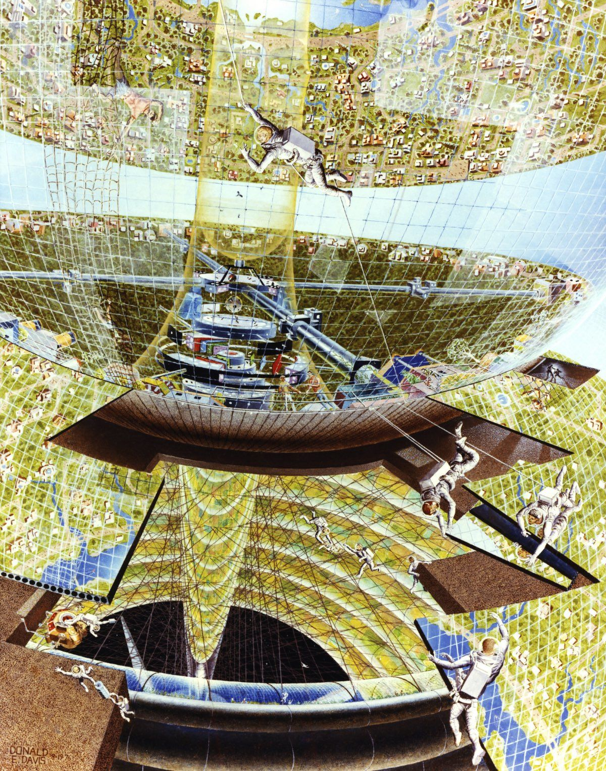 Bernal Construction. Construction crew at work on the colony. Art work: Don Davis. Credit: NASA Ames Research Center. NASA ID AC76-1288