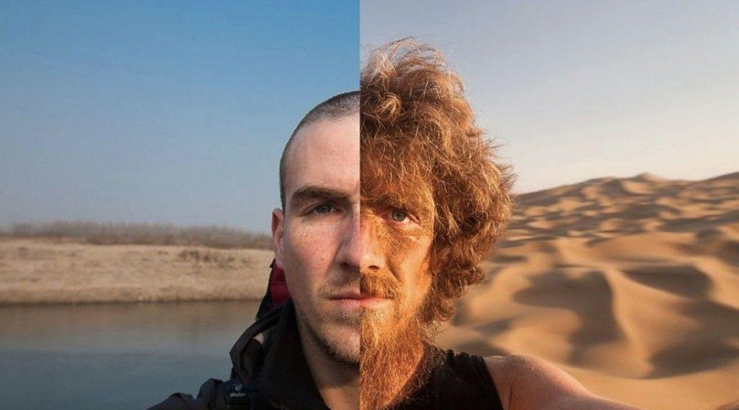 1年間4,500kmを歩いた男の顔ビフォーアフターをご覧ください