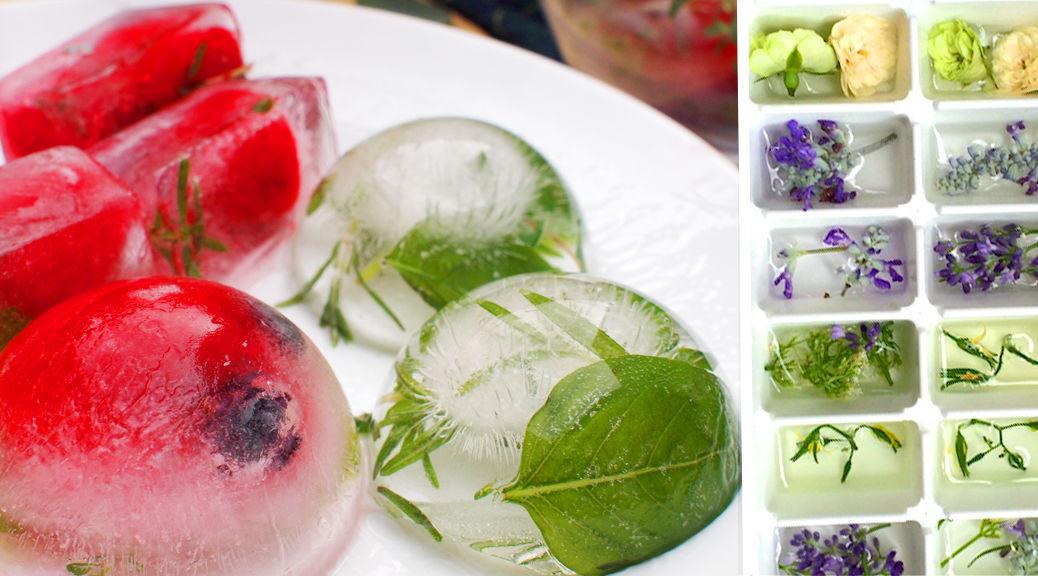 製氷皿を使ってつくるオシャレな「ハーブ氷」。フレーバーアイスキューブは使い方自由自在!