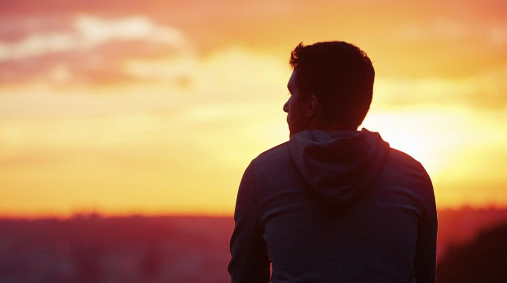 Man at the sunrise