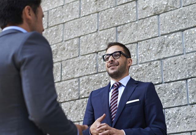 Outdoor business conversation