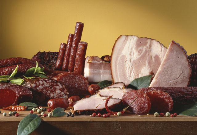 Smoked hams and sausages
