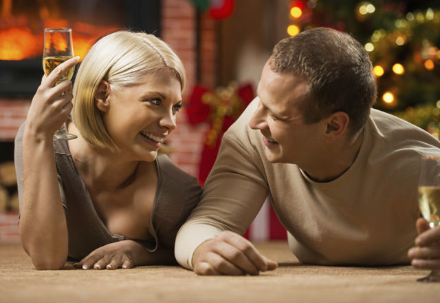 Couple celebrating Christmas.