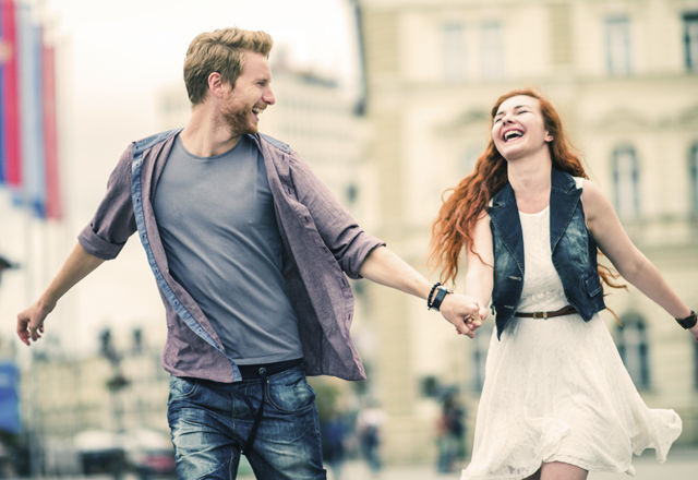 Ginger couple having fun in the city.