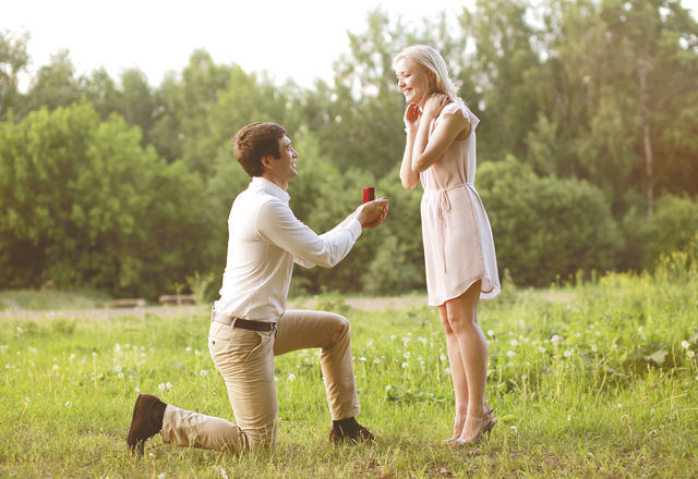 Man proposing ring woman, love, couple, date, wedding - concept