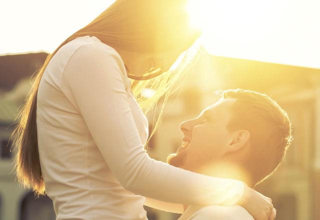 Happiness couple portrait under sunlight