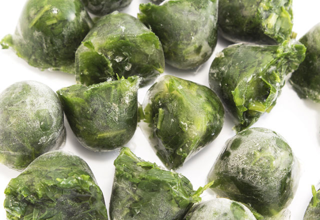 Parsley frozen in ice cubes