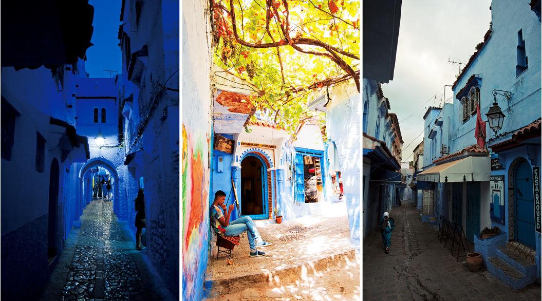 世界一青い街「シャウエン」は、朝から夜にかけて色が変化する